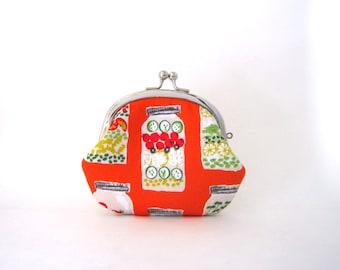 Coin Purse- Change pouch- Kiss Lock Coin Case- Jar Salad on Orange