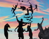Original oil painting, sunset silhouettes anthropomorphic double image face dancers flying dream, how we make each other up