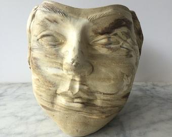 Face Vase Goddess Sculpture Pottery, Head of Venus, Marbled Agateware Ikebana Vessel, Flower Arrangement Pot Planter