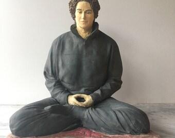 Zen Art, Ceramic Figure Sculpture of a Woman in Meditation, Contemporary Buddha Statue, Figurine Portrait
