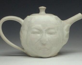 Face Teapot Buddha Head Sculpture Surreal Serving Ceramic Art Pottery