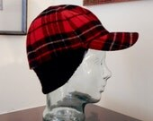 RESERVED for Lauren Red Plaid Ear Flap Cap Seifter Associates By Framar Italy Rib Knit Wool Quilted Lining Hip Hop Hat 1990s Does 1950s