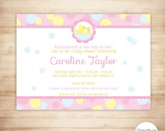 Rubber Duck Baby Shower Invitation - Pink Baby Girl Shower - Rubber Ducky Baby Shower Invite - PERSONALIZED & PRINTABLE