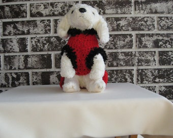 Red sweater with black fur trim, med. fur trim sweater in red and black, large black fur trim dog sweater