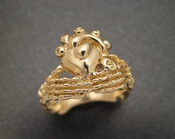 Golden Skeletal Claddagh Ring