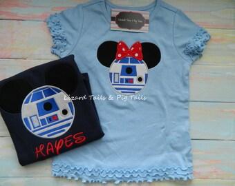 Mickey Minnie Mouse Head Star Wars Shirts - Star Wars Inspired - R2D2 Mickey Minnie