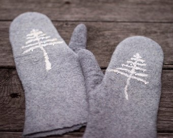Felted grey mittens merino wool mittens winter white tree Christmas tree embroidered mittens women gloves arm warmers snow Christmas gift