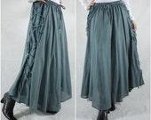 Boho Hippie Gpysy Full Circle Long Maxi Blue Grey Light Cotton Skirt With Lining