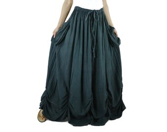 PLUS SIZE SKIRT...Bring Me To The Moon - Steampunk Maxi Flare Dark Charcoal Grey Cotton Skirt With Ruching Detail Around Bottom Hem