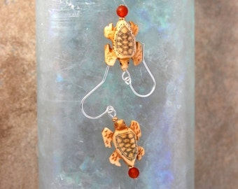 Lyme Sale Tiny Turtle Earrings Carved Bone Turtles w Scrimshaw and Carnelian Accent on Sterling Silver French Hooks Nature Jewelry