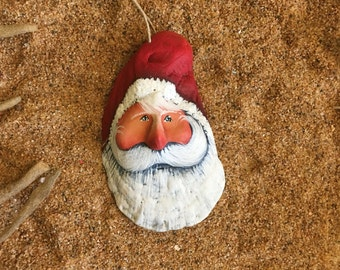 Petite red Christmas at the beach shabby oyster sculpted Santa sea shell #415
