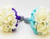 Reserved - White Aqua Wedding Flower Package Bridesmaid Bouquets Groomsman Boutonnieres Real Touch Rose Silk Stephanotis