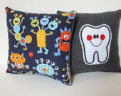Monster Tooth Fairy Pillow, Monster Pillow, Tooth Pillow with Pocket, Tooth Pillow for Boys, Boy Tooth Pillow, Silly Monster Pillow