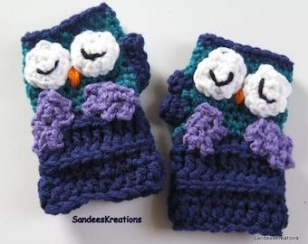 Blue Fingerless Owl Gloves, Child's Glove, Crochet Fingerless Gloves