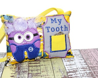 Tooth Fairy Pillow | Tooth Pillow | Tooth Pocket | My Tooth | Personalized Letter | Hanging Tooth Pillow | Purple Helper Minion Tooth