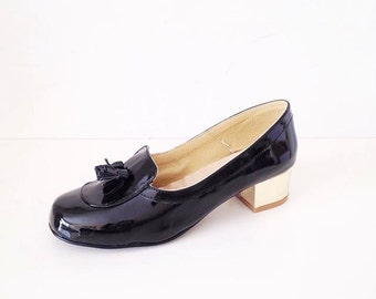 Patsy Faux Leather Gold Heel Tassel Loafers Mocassins (Handmade to order)