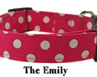 Pink and White Polka Dot Dog Collar - The Emily