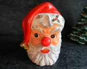Vintage Santa vase Relpo 1963 Santa Clause planter with bright red nose Christmas vase holiday decor