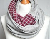 JERSEY infinity scarf with flanel plaid , infinity scarves by ZOJANKA, grey infinity scarf, Spring Fashion