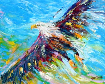 Original oil painting Bald Eagle abstract palette knife impressionism on canvas fine art by Karen Tarlton