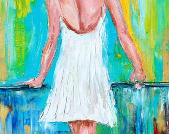 Original oil painting Ballerina abstract palette knife impressionism on canvas fine art by Karen Tarlton