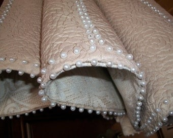 """AMAZING 58"""" Taupe Embossed with Pearl Like Beading Reversible Christmas Tree Skirt 2017 Collection"""