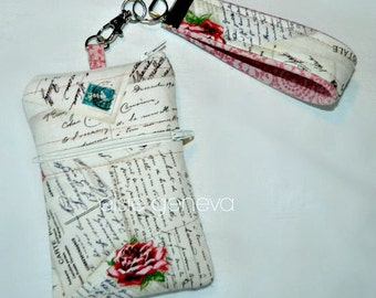 Vintage Phone Case with Wristlet - French Post Cards Rose Words - iPhone 4 5 6 Plus 7 Samsung Galaxy Android HTC - Optional Shoulder Strap