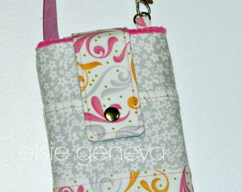 Light Gray White and Hot Pink Words of Flowers and Swirls Phone Case Wristlet iPhone 4 5 6 Plus Samsung Galaxy Note Large