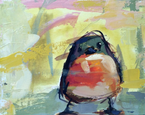 Robin No. 138 Original Acrylic And Oil Painting By Angela