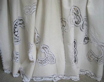 Pair of delightful vintage French linen curtains or blinds with hand crochet lace, white, curtain dressing, shabby chic