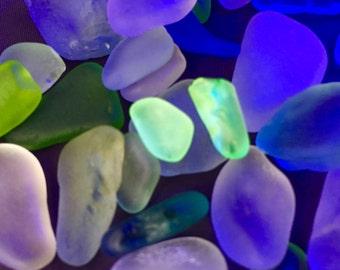 Beach Glass Sea Glass of  Hawaii beaches! HEARTS Vaseline UV Glass! PATTERN! Glows under a black light!