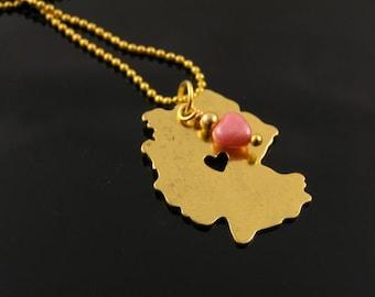 Germany Map Necklace, Map Shape Pendant, I heart Germany, Patriotic German Jewelry, Deutschland Kette, Germany Map Jewelry