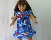 FREE SHIPPING /Doll Nightgown, Fits 18-inch Amer Girl Doll and Bitty Baby, Cotton Knit // Red White and Blue // Ready to SHIP
