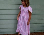 Girls' NIGHTGOWN-Size 10 // 100% Cotton-Knit / Pink Pajamas, Sleepwear, Full Length, Eyelet Trim //Ready to Ship //Mid-weight fabric (9oz)