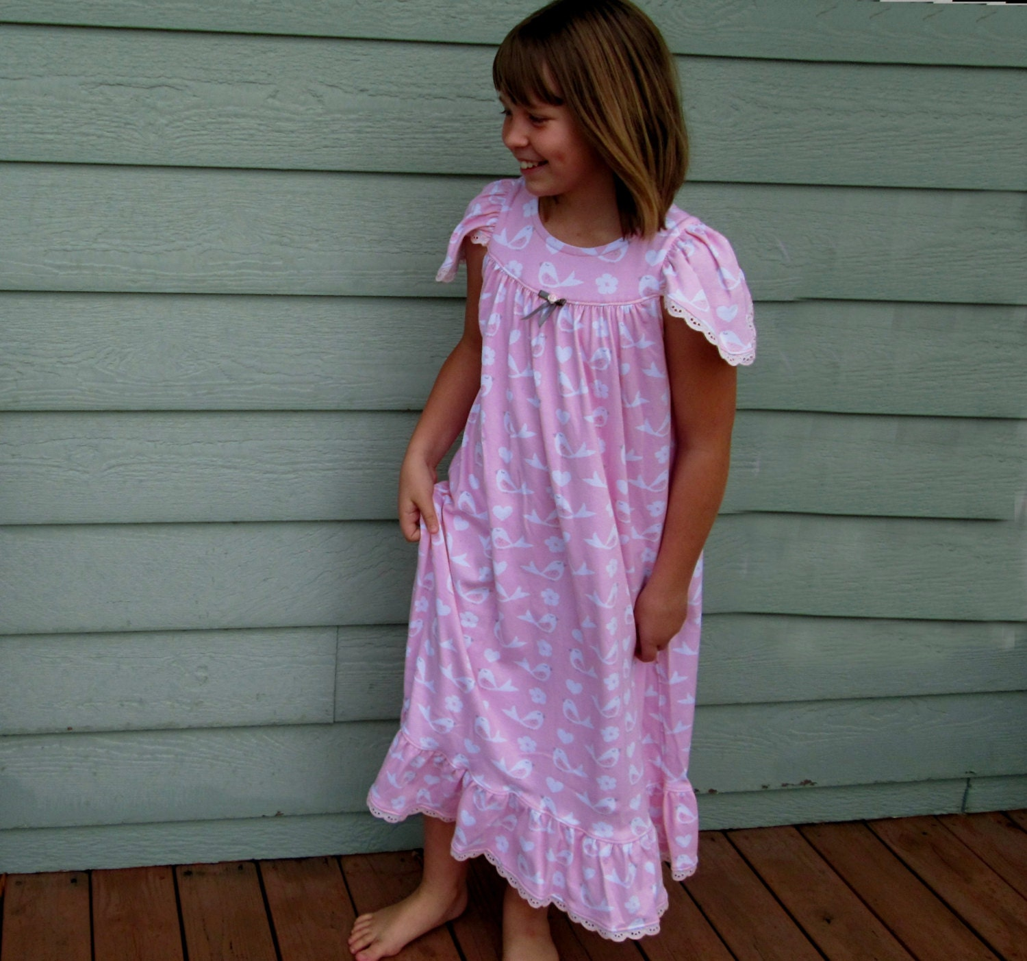 Matching girl and doll Size 3/4 CHUBBY nightgowns cotton blend with lots of flowers and a large ruffle hemline.