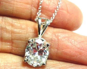 CZ Oval Pendant In Sterling CZ Diamond-like Pendant in Sterling Silver with Sterling Silver Chain