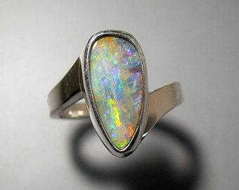 Australian Boulder Opal Sterling Silver Ring