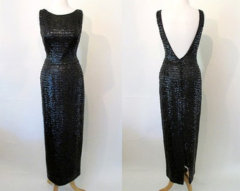 Va Va Voom! 1950's Hourglass Black Sequin Gown Cocktail Dress with Plunging Back Rockabilly VLV Pinup Vixen Sexy Size-Medium