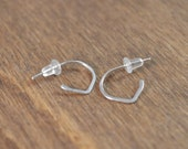 Small Lotus Hoop Earrings - 925 Sterling Silver - Post Style