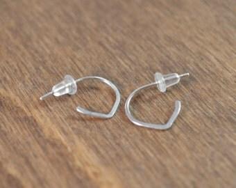 Small Lotus Hoop Earrings - 925 Sterling Silver - Post Style