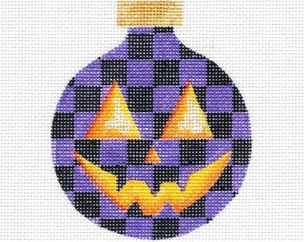 Purple and Black Check Pumpkin Needlepoint Ornament - Jody Designs #B230 PURPLE