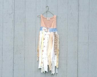 funky tattered cotton tunic upcycled romantic Upcycled clothing Dress Eco Dress / Artsy Dress by CreoleSha