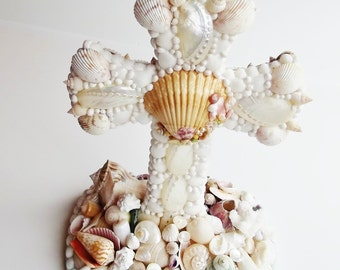 Seashell Cross, Freestanding, 2 sided, Seashell Table Decor, Starfish, Religious, Crucifix