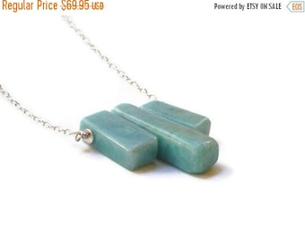 ON SALE Larimar Jewelry Blue jewelry Tribal style Larimar necklace Geometric  modern style Summer fashion necklace