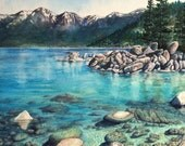 Original Watercolor Painting Lake Tahoe Sand Harbor Art, turquoise lake water, Mountain Nature Wall Art, Home Decor by Artist Christie Marie