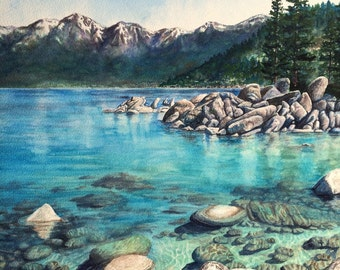 Original Watercolor Painting Lake Tahoe Sand Harbor Art turquoise water Mountain Nature Framed Art by Artist Christie Marie Elder-Russell