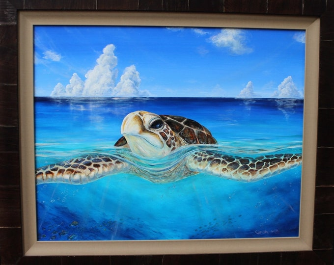 "Fine Art Giclee Print Art ""Peace of the Tropics"" Framed Ready to hang Hawaiian Sea Turtle Art  by Artist Christie Marie"