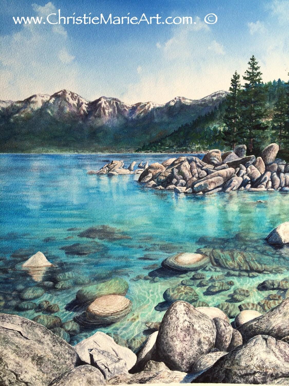 Original Watercolor Painting Lake Tahoe Sand Harbor Art