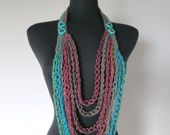 Turquoise Green Maroon Teal Dark Taupe Brown Color Long Crocheted Chains Necklace Lariat Bib with Turquoise Color Beads