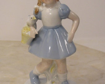 "Darling 1950s Girl with Braids and Bird Ceramic Figurine - Made in Japan - 7"" Tall - Best Condition"